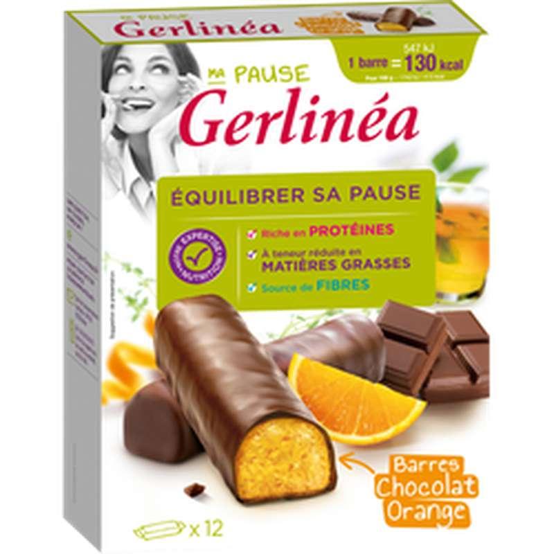 Barres de repas minceur hyperprotéiné chocolat et orange, Gerlinea (x 12)