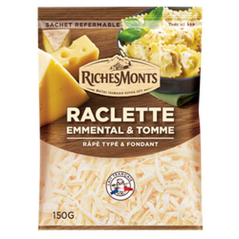 Mélange 3 fromages râpé raclette emmental tomme, Richemonts (150 g)