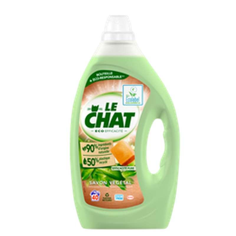 Lessive liquide éco efficacité savon végétal, Le Chat (40lavages, 2L)