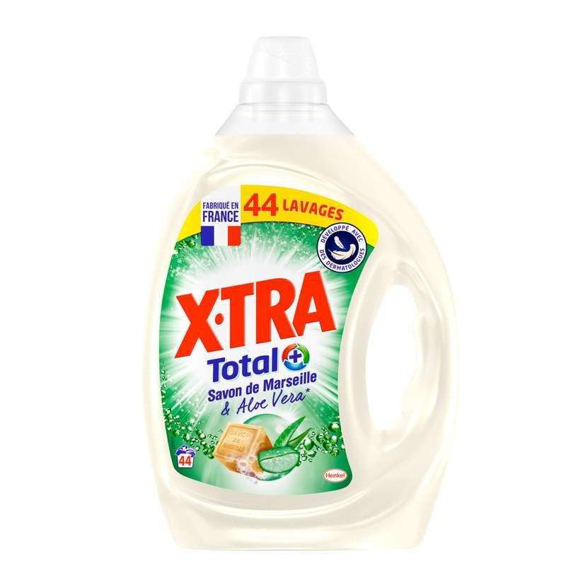Lessive liquide savon Marseille et aloe vera, X-TRA (2,2 L = 44 lavages)