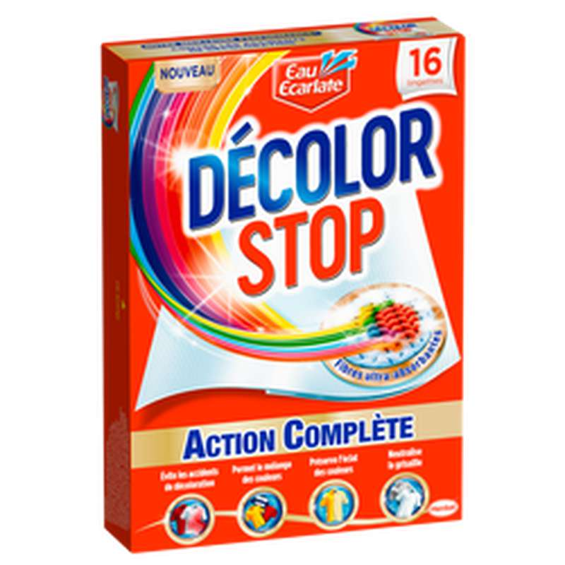 Lingettes décolor stop action complète, Eau Ecarlate (x 16)