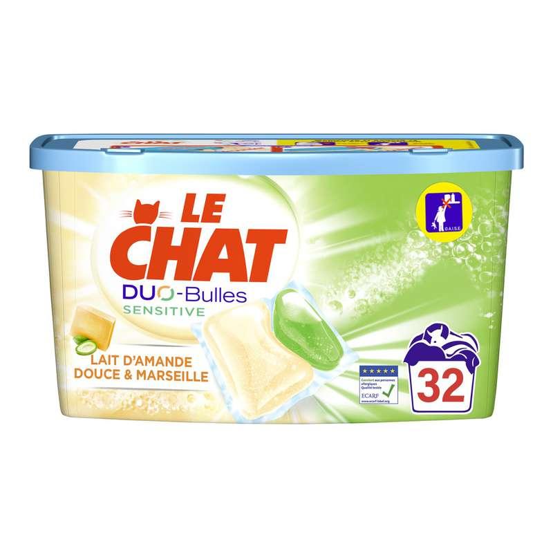 Lessive capsule savon Marseille et amande douce 2 en 1, Le Chat (x 32)
