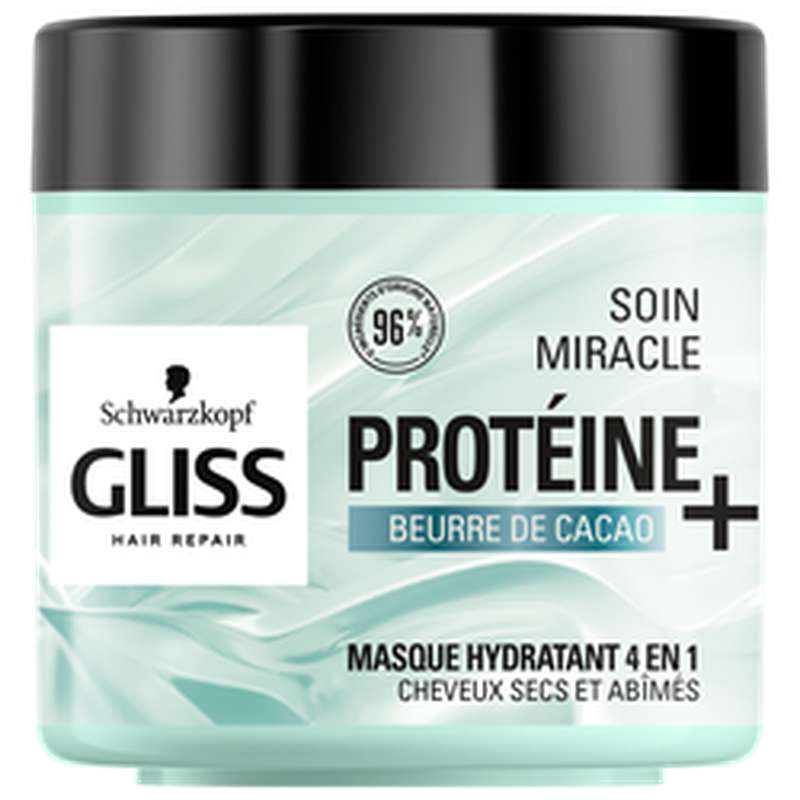Masque traitement miracle cheveux très secs au beurre de cacaco, Gliss (400 ml)