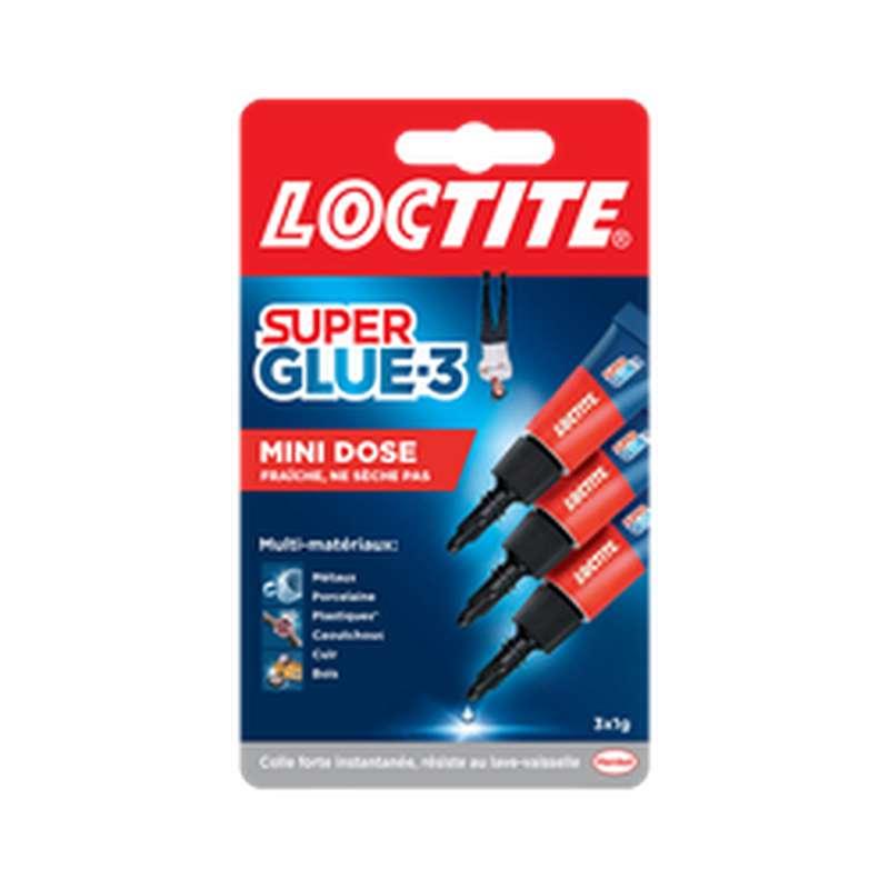 Colle mini dose Superglue 3, Loctite (3 x 1 g)