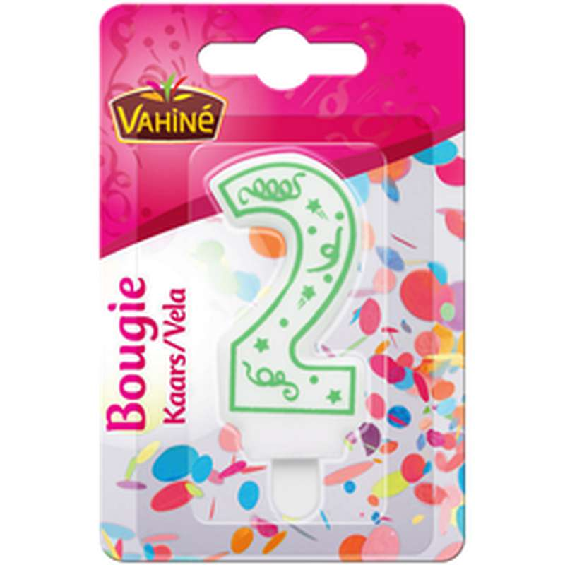Bougie d'anniversaire chiffre n°2, Vahiné (x 1)