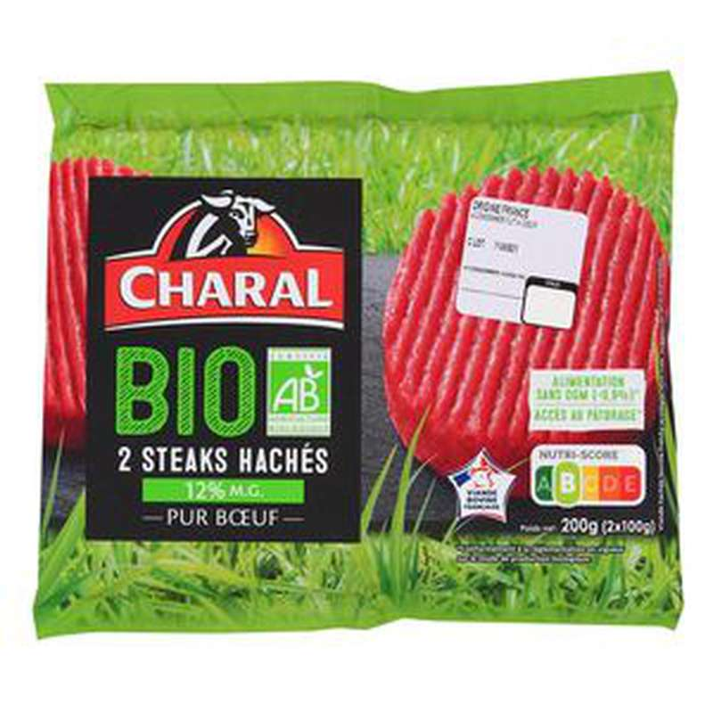 Steak haché 12% MG BIO, Charal (2 x 100 g)