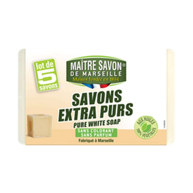 Savon de Marseille traditionnel, Maitre Savon de Marseille  (5 x 100 g)