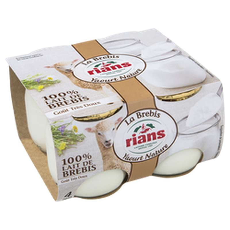 Yaourt nature au lait de chèvre, Rians (4 x 120 g)