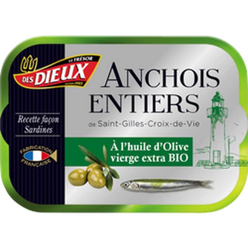 Anchois entiers à l'huile d'olive BIO, Le Trésor des Dieux