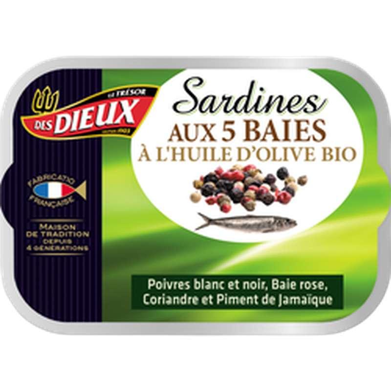 Sardines à l'huile d'olive bio et 5 baies, Le Trésor des Dieux (115 g)
