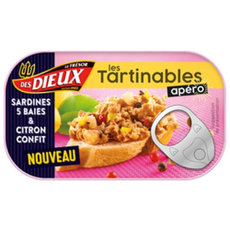 Tartinable apéro aux sardines, 5 baies et citron confit, Le Trésor des Dieux (90 g)