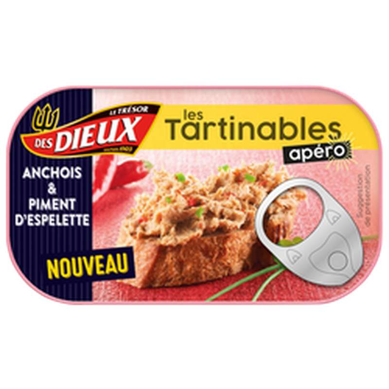 Tartinable apéro anchois et piment d'Espelette, Le Trésor des Dieux (90 g)