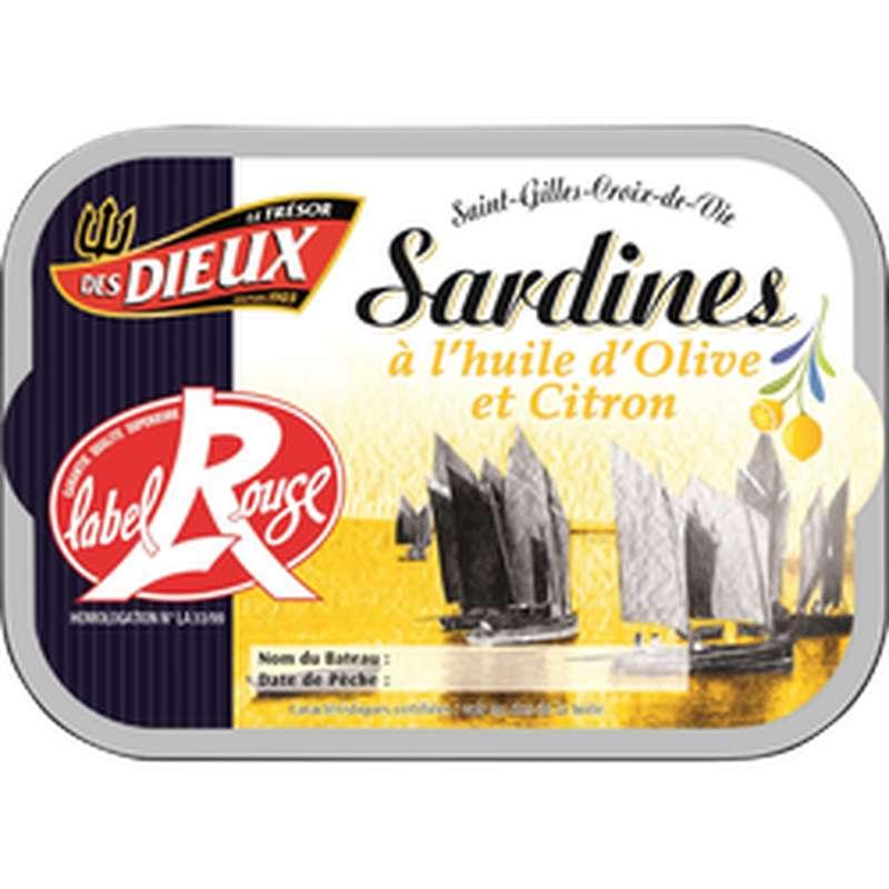 Sardines à l'huile d'olive et citron Label Rouge, Le Trésor des Dieux (115 g)