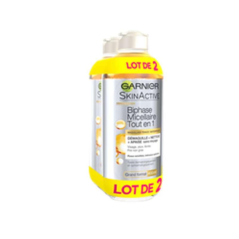 Eau micellaire biphasée tout en 1, Garnier LOT DE 2 (2 x 400 ml)
