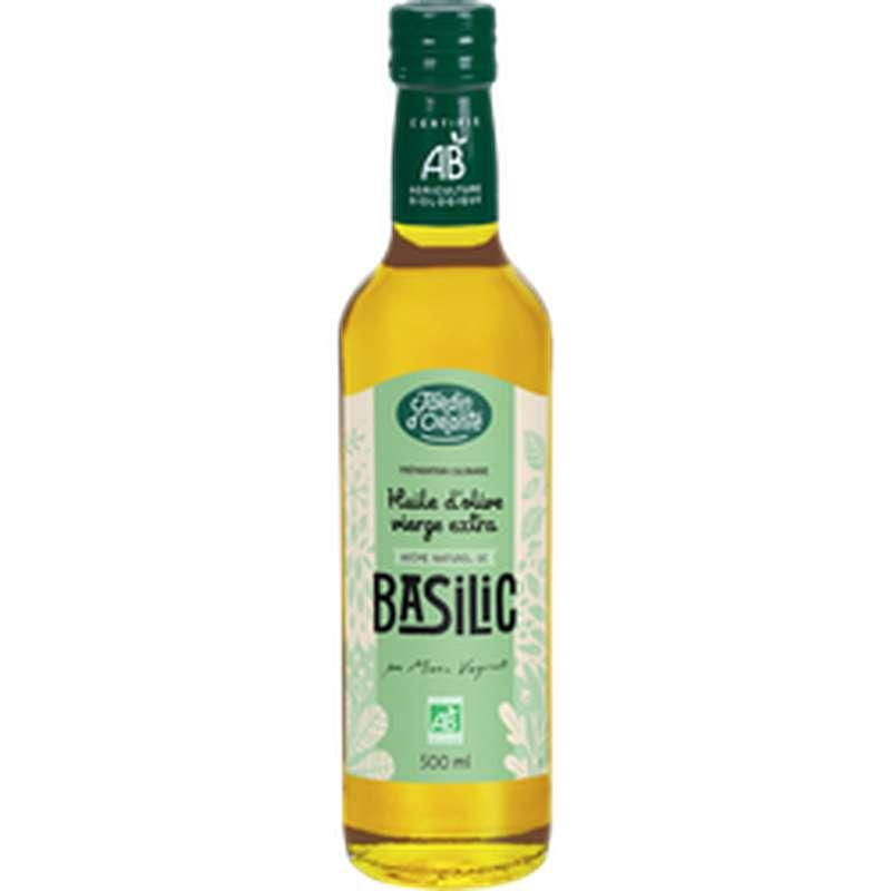 Huile olive vierge aromatisée au basilic BIO, Jardin d'Orante (50 cl)