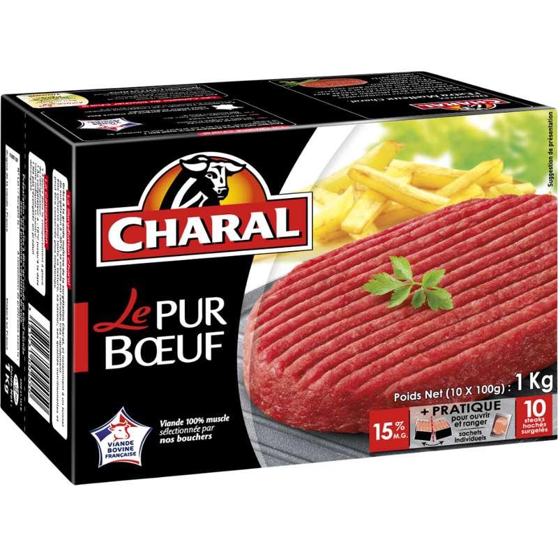 Steak haché Le Pur Boeuf 15% de MG, Charal (10 unités, 1 kg)