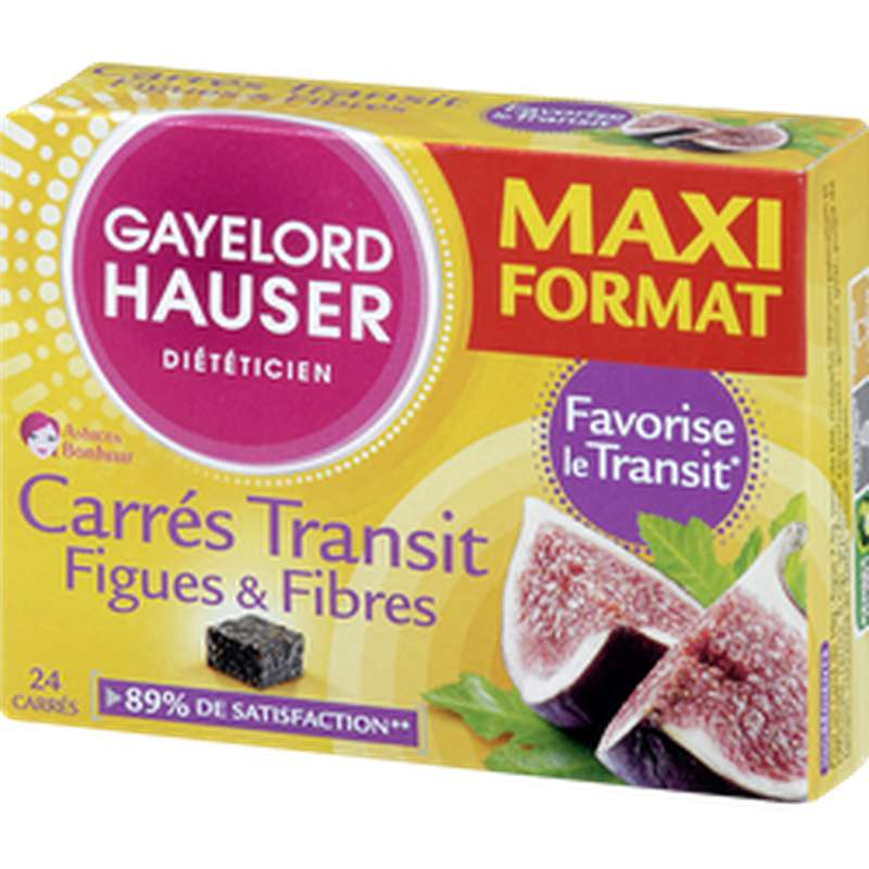 Carrés Transit figues et fibres, Gayelord Hauser (x 24, 240 g)