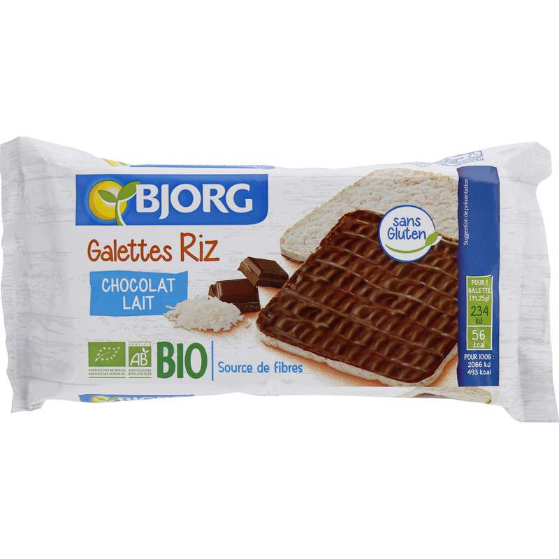 Galettes riz chocolat lait BIO, Bjorg (90 g)
