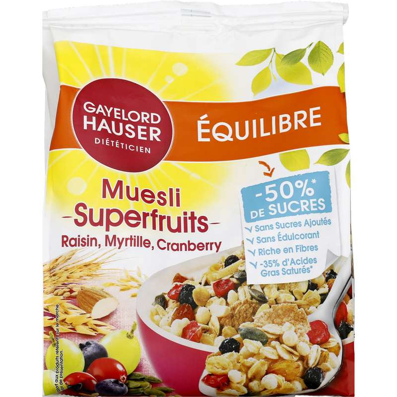 Céréales muesli fibres sans sucres ajoutés, Gayelord Hauser (350 g)