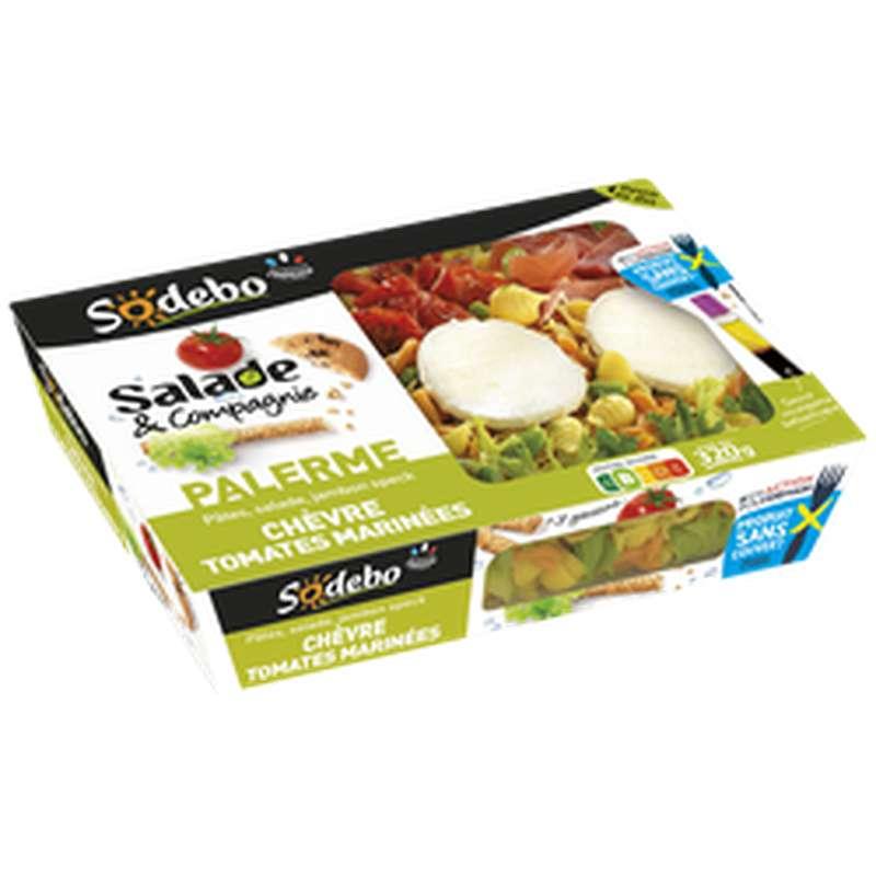 Salade Palerme pâtes jambon speck chèvre et tomate marinées, Sodebo (320 g)