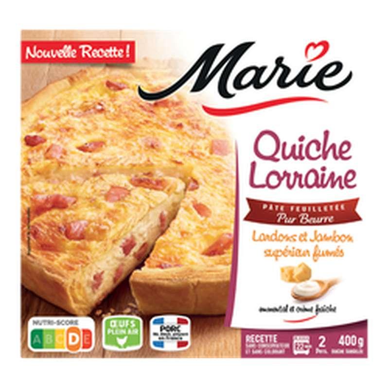 Quiche Lorraine aux lardons et jambon supérieur pates feuilletées pur beurre, Marie (400 g)