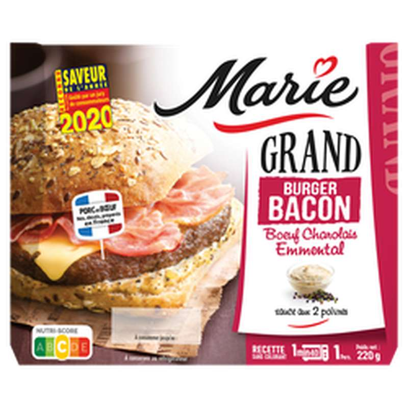Grand burger Bacon charolais emmental sauce 2 poivres, Marie (220 g)