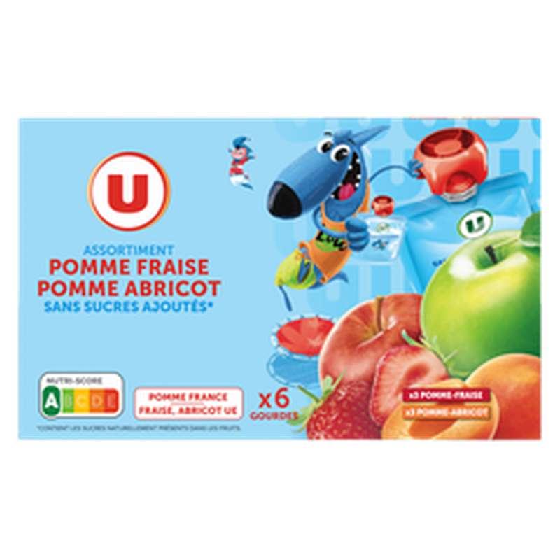 Gourdes pomme-fraise et pomme-abricot sans sucres ajoutés, U Mat & Lou (6 x 90 g)