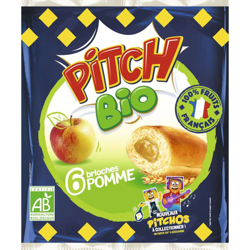 Pitch brioche à la pomme BIO, Pasquier (x 6, 232 g)