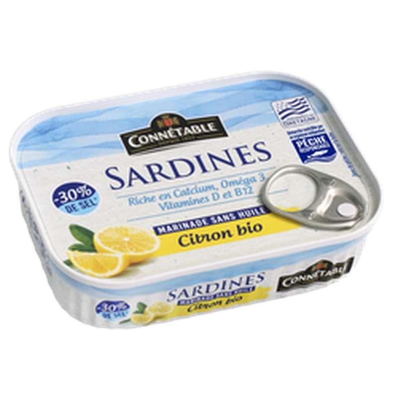 Sardines marinade citron sans huile -30% sel BIO, Connetable (135 g)