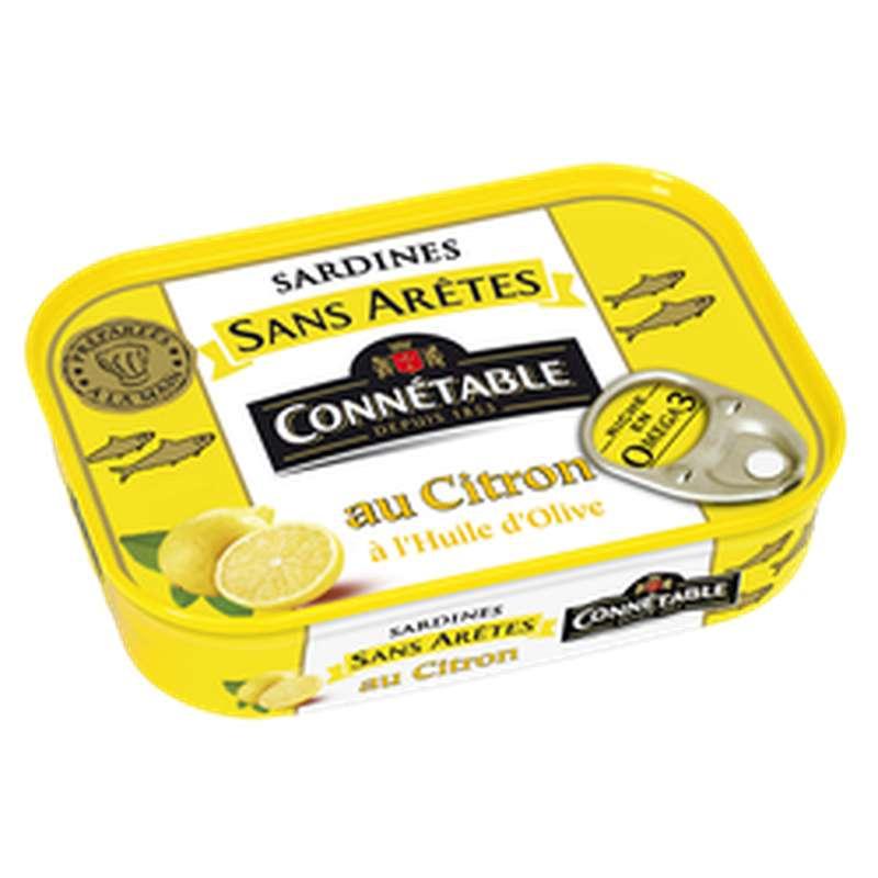 Sardines sans arêtes à l'huile d'olive et citron, Connetable (140 g)