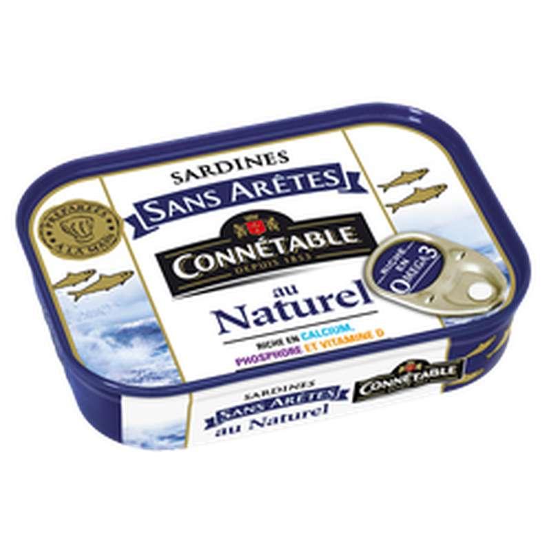 Sardines sans arêtes au naturel, Connetable (98 g)
