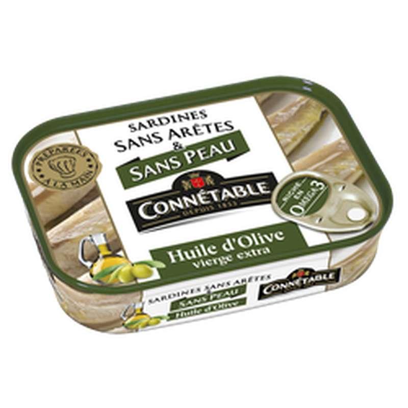 Sardines sans peau ni arêtes à l'huile d'olive, Connetable (140 g)