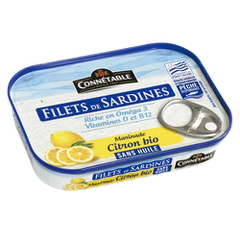 Filets de sardines marinade citron sans huile BIO, Connetable (90 g)