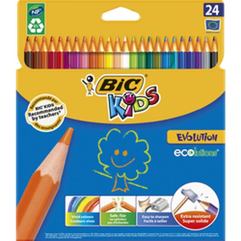 Crayons de couleur Kids Evolution, BIC (x 24)