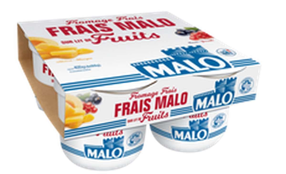 Fromage frais sur lit de fruits, Malo (4 x 100 g)