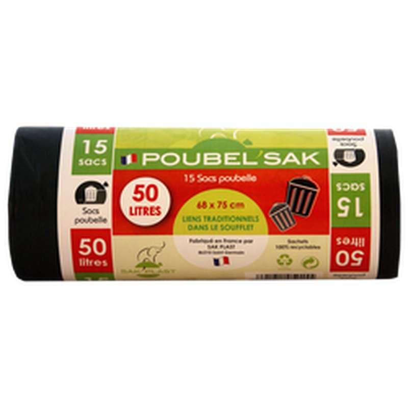 Sac Poubelle Noir, Poubel'Sak (x15, 50 L)