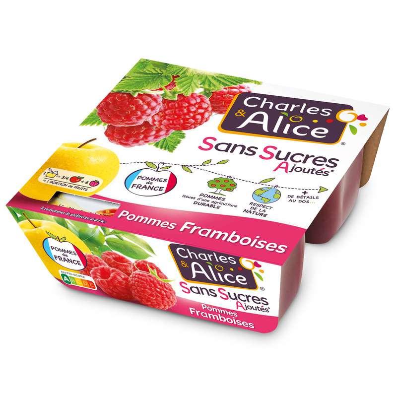 Compote pomme framboise sans sucres ajoutés, Charles & Alice (4 x 100 g)