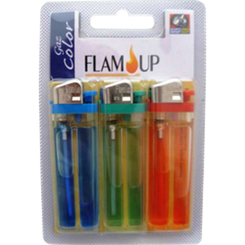 Briquets à gaz colorés sous blister, Flam Up ( x3)