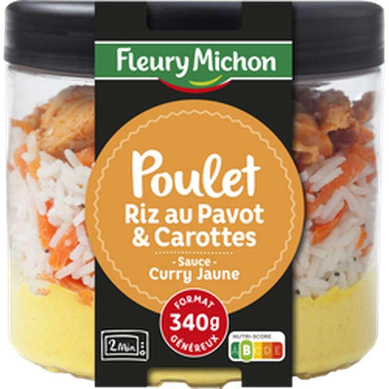 Poulet, riz au pavot et carottes sauce curry jaune, Fleury Michon (340 g)