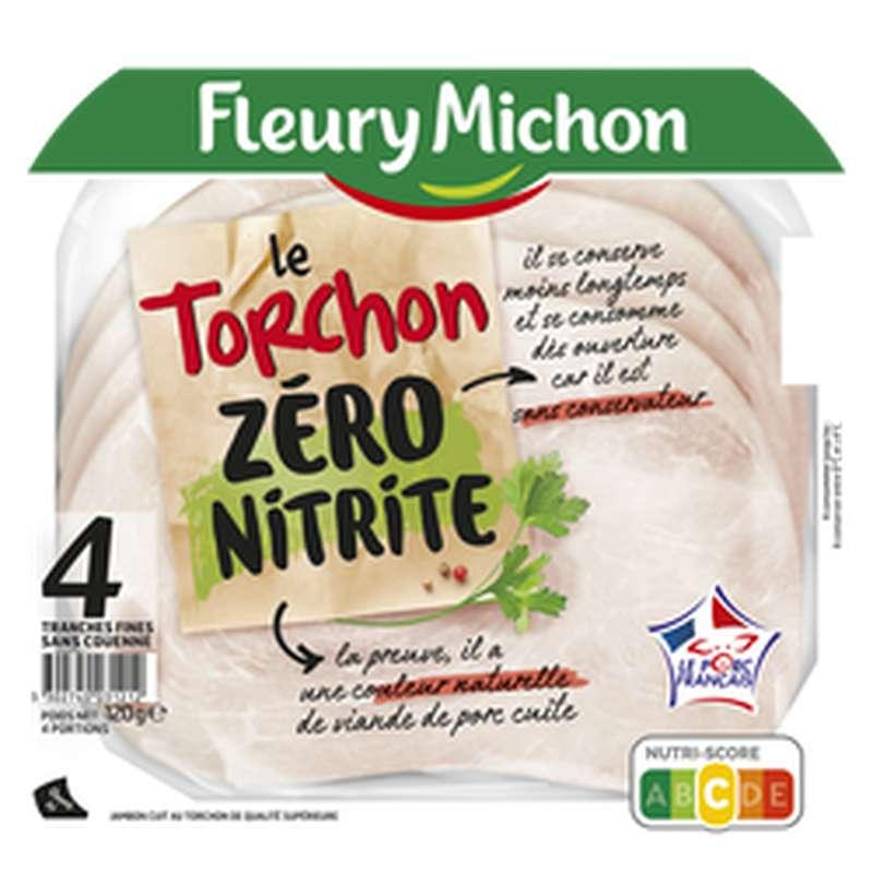 Jambon Le Torchon zéro nitrite, Fleury Michon (4 tranches, 120 g)