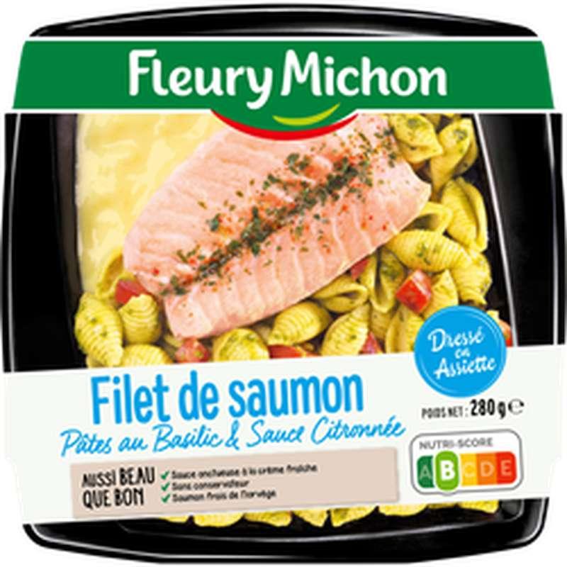 Filet de saumon, pâtes au basilic et sauce citronnée, Fleury Michon (280 g)