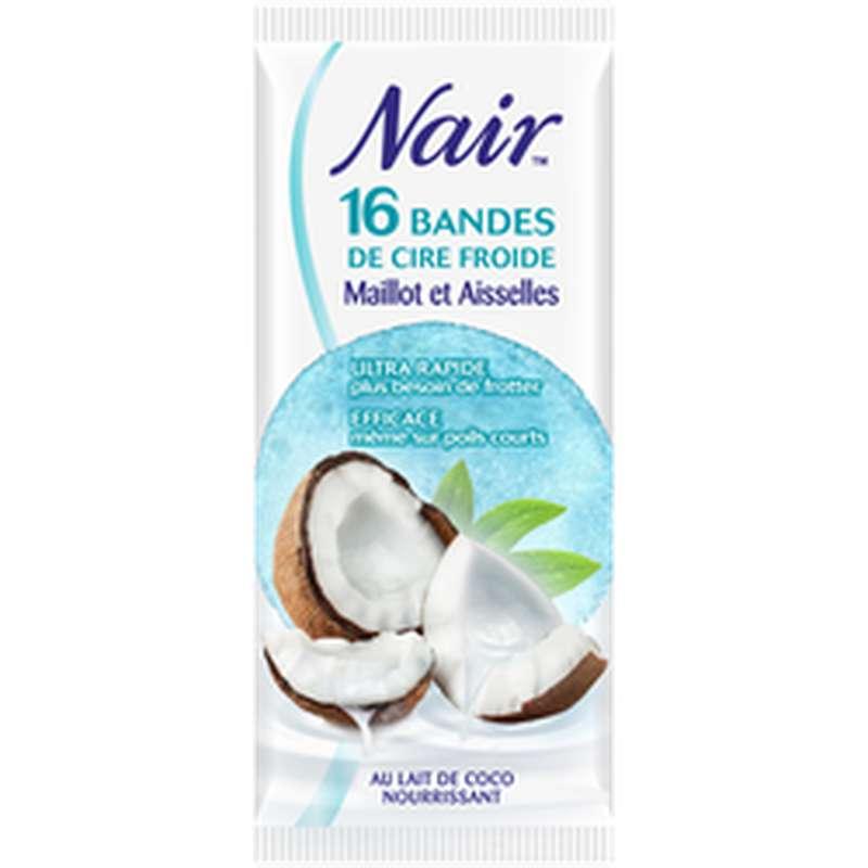 Bandes de cire froide maillot et aisselles parfum coco, Nair (x 16)