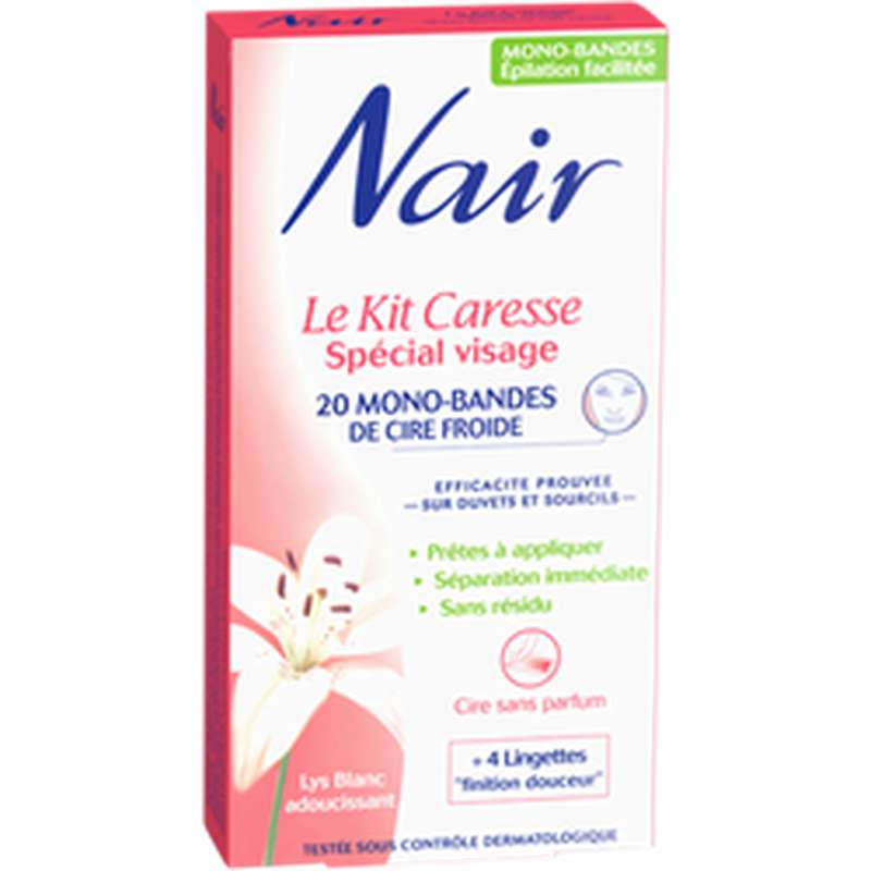 Kit cire froide spécial visage, Nair (x 20)