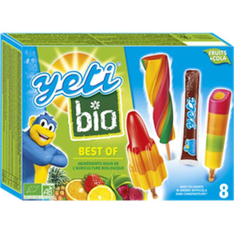 Glace aux fruits & sucettes à l'eau parfum cola BIO Best Of, Yeti (x 8, 420 g)