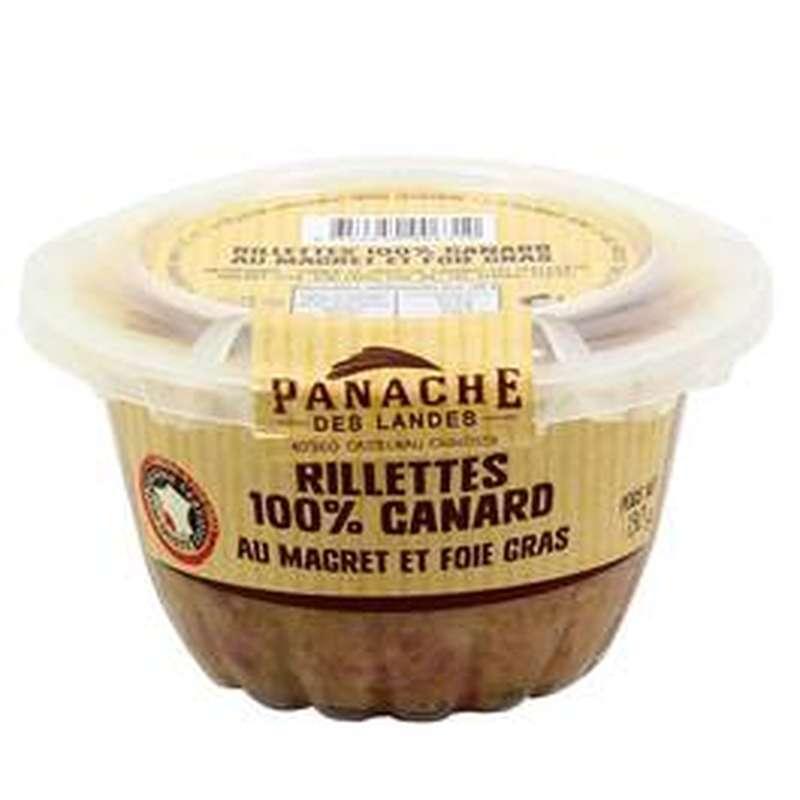 Rillettes 100% canard au foie gras, Panache des Landes (130 g)