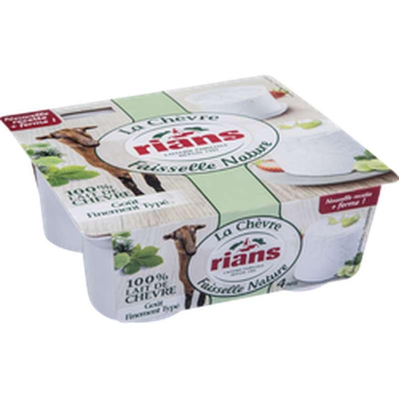 Faisselle nature au lait de chèvre, Rians (4 x 100 g)