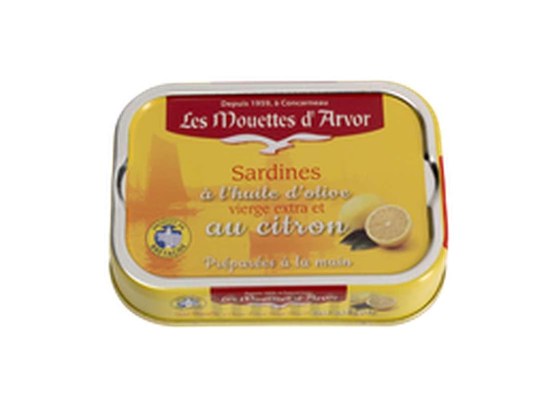 Sardines à l'huile d'olive et citron, Les Mouettes d'Arvor (115 g)