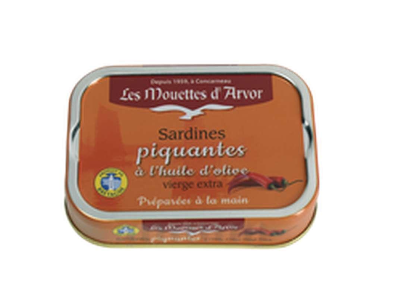 Sardines piquantes à l'huile d'olive extra vierge, Les Mouettes d'Arvor (115 g)