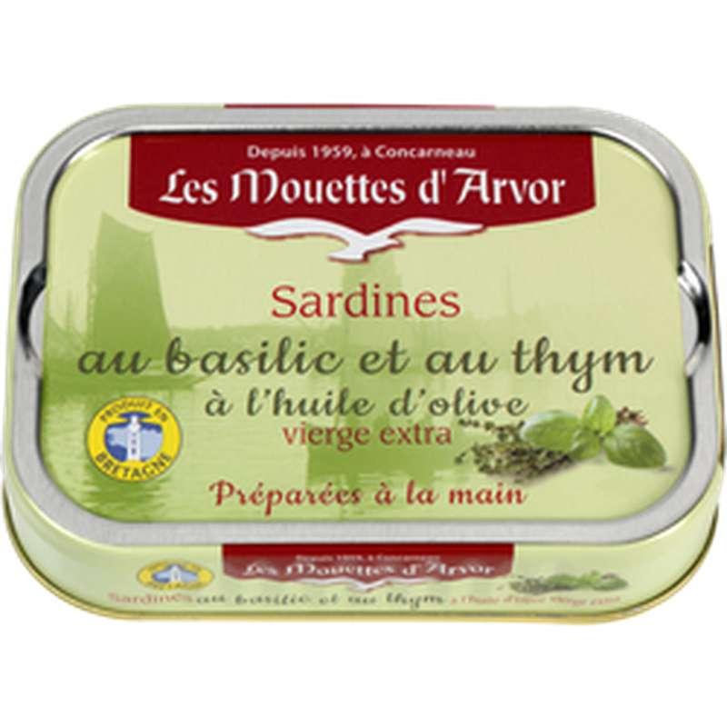 Sardines au basilic et au thym, Les Mouettes d'Arvor (115 g)