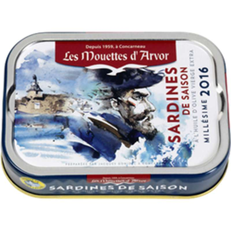 Sardines de saison à l'huile d'olive Millésime 2016, Les Mouettes d'Arvor (115 g)